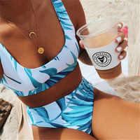 Sexy colher pescoço branco tropical folha de palmeira cintura alta biquíni 2019 senhora banho feminino esporte maiô natação