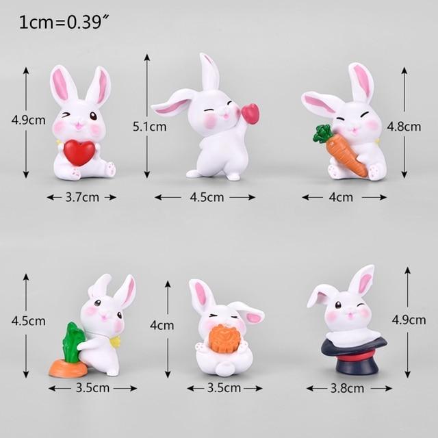6 pièces dessin animé lapin lapin Figurine Miniature maison de poupée Micro paysage ornements 57BB
