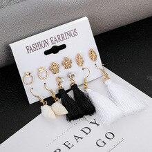 new trendy mixed rhinestone crystal crown leaf earrings set vintage boho long tassel dangle drop for women girl gift