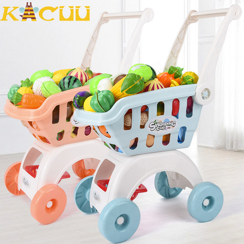 75pcs Kids Supermarket Mini Shopping Cart For Girls Kitchen Play House Trolley Toys Simulation Fruits Pretend Toys Children Gift