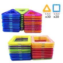 50 adet büyük manyetik oluşturucu üçgen kare tuğla manyetik yapı taşları tasarımcı seti mıknatıs oyuncaklar çocuk hediye için