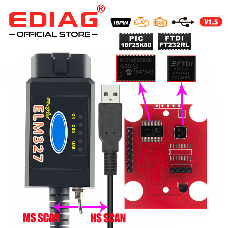 2019 ELM327 usb FTDI chip with switch code reader for F0 rd HS CAN and MS CAN car diagnostic cable better than elm327 v2 1