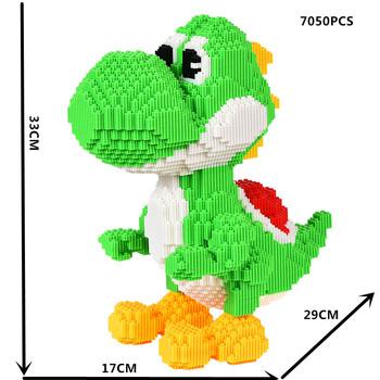 Gra wideo Super Mario Yoshi duży potwór Model 3D DIY Mini klocki mikro klocki klocki zabawki dla dzieci 33cm wysokości bez pudełka tanie i dobre opinie 8 ~ 13 Lat 14Y Dorośli Zwierzęta