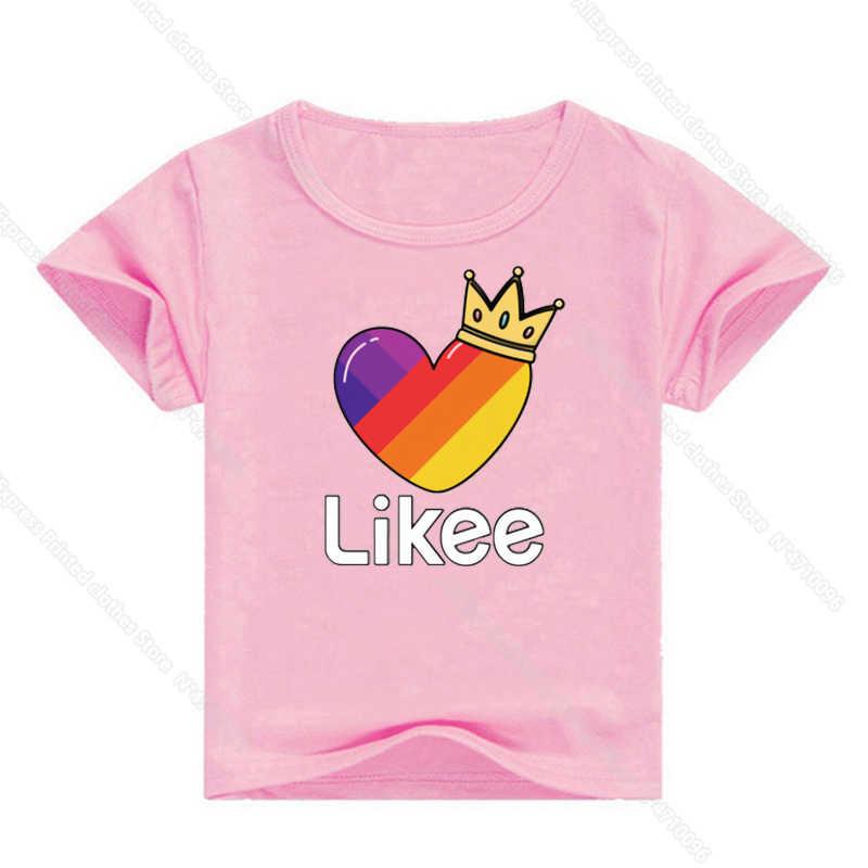 Likee camiseta de algodão infantil, roupas para bebês crianças manga curta meninos e meninas verão camisa com camisa