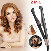 2 in 1 Hair Straightener Professional Curler Curl Styler Ceramic 230°C Salon New(China)