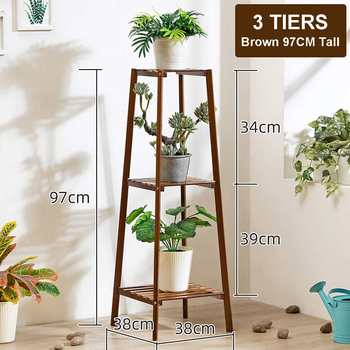 4 Layers Simplicity Wood Stand For Plants Landing Type Light Extravagant Multi-storey Shelf Indoor Flowerpot Frame Flower Stand 11