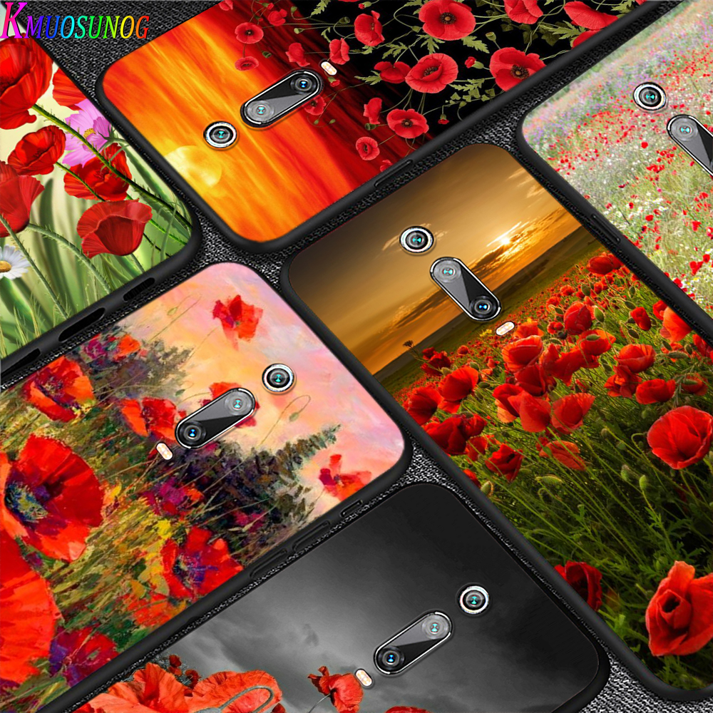 Red Poppies flowers painting for Xiaomi Redmi 10X 9 Prime 9C 9A 8 8A 7 6 5 4X 4 K20 Pro K30 Ultra 7A 6A 6 S2 5A Plus Phone Case