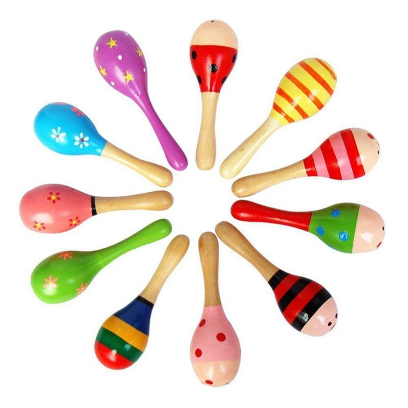 NEW-10 PCS Wooden Wood Maraca Rattles Shaker Percussion Kids Musical Toy Favour, Maracas 10, 36 Months Up
