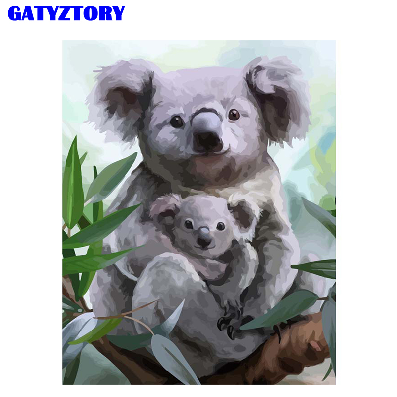 GATYZTORY Frame Bear DIY Digital Painting By Numbers Kits Acrylic Modern Wall Art For Home Decoration Gift For Child