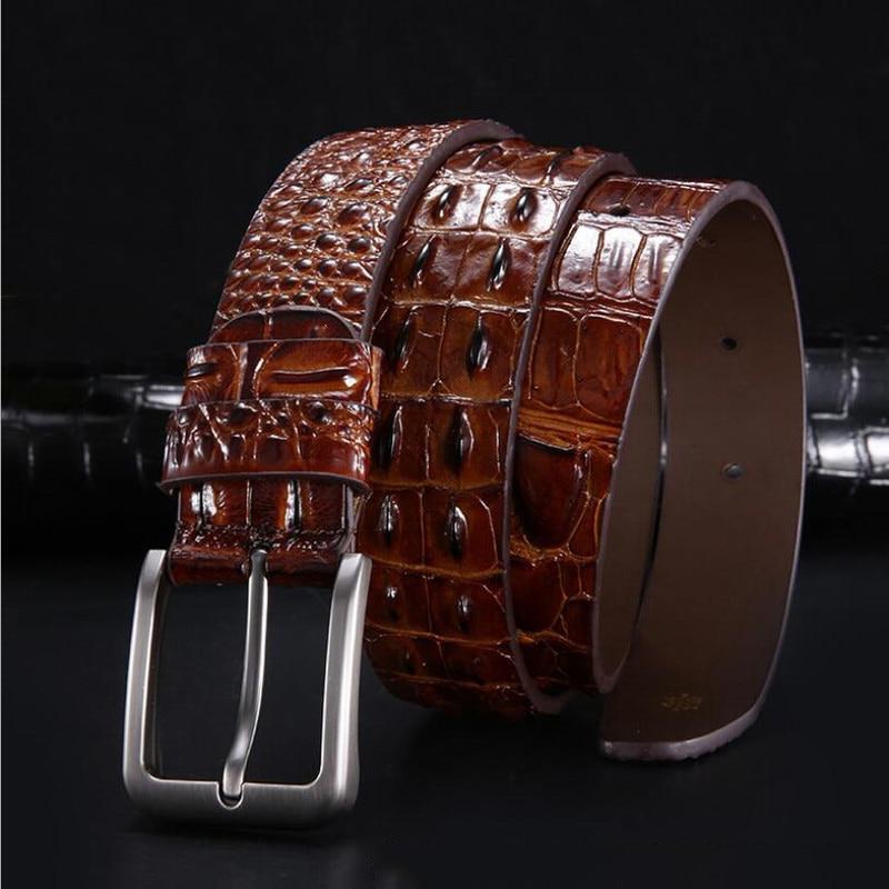 Men Pin Buckle Luxury Designer Belt Male Genuine Leather Crocodile Grain Belt Fashion Alligator Grain Jeans Belt XKS132