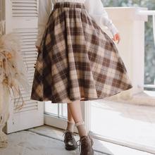 2020 ciepły jesienny zimowy elegancki kobiet spódnica Vintage Plaid wełniane tkane spódnice wysokiej jakości wysokiej talii Retro słodka spódnica damska tanie tanio NoEnName_Null COTTON Z wełny CN (pochodzenie) Wieku 16-28 lat A-LINE NONE WOMEN GT-4F-9534-55 empire Słodkie Połowy łydki