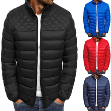 WENYUJH Hot Men Slim Fit Cotton Padded Thick Parkas Winter Warm Stand Collar Light Highwear Jacket Casual Overcoat Stilted