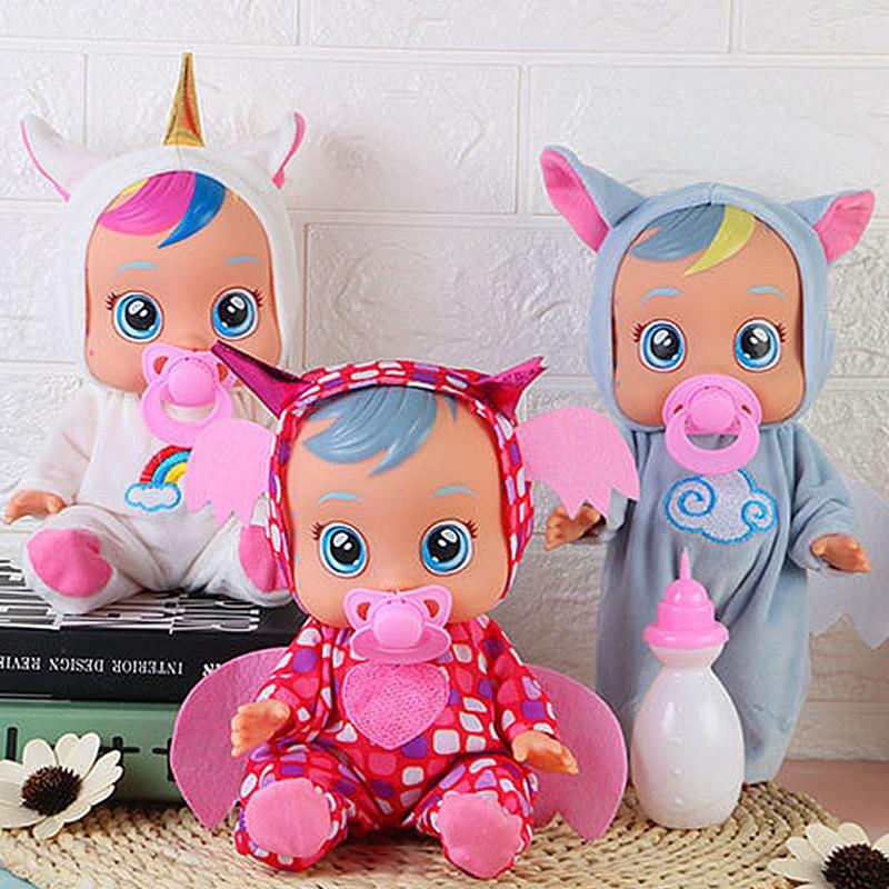 10 Polegada boneca renascer unicórnio chorando boneca pode falar beber água e derramar lágrimas brinquedo criativo vinil boneca bebê menina presentes de natal