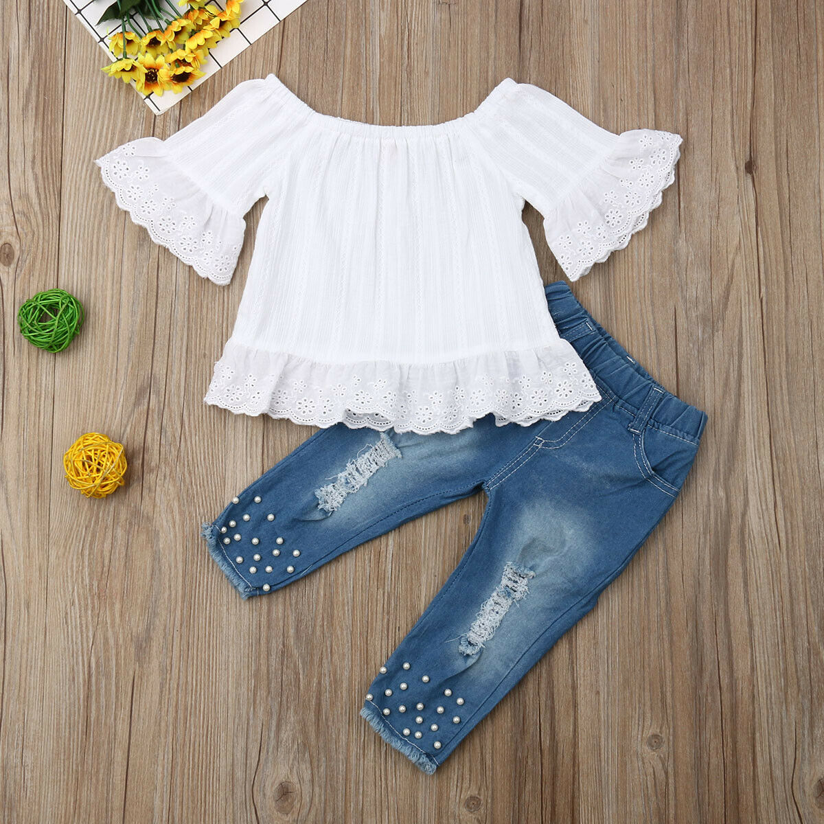 Children Toddler Kid Baby Girl Clothes Set White Tops T-shirt and Denim Long Pants Jeans Outfits Sets 1-6 Year 1