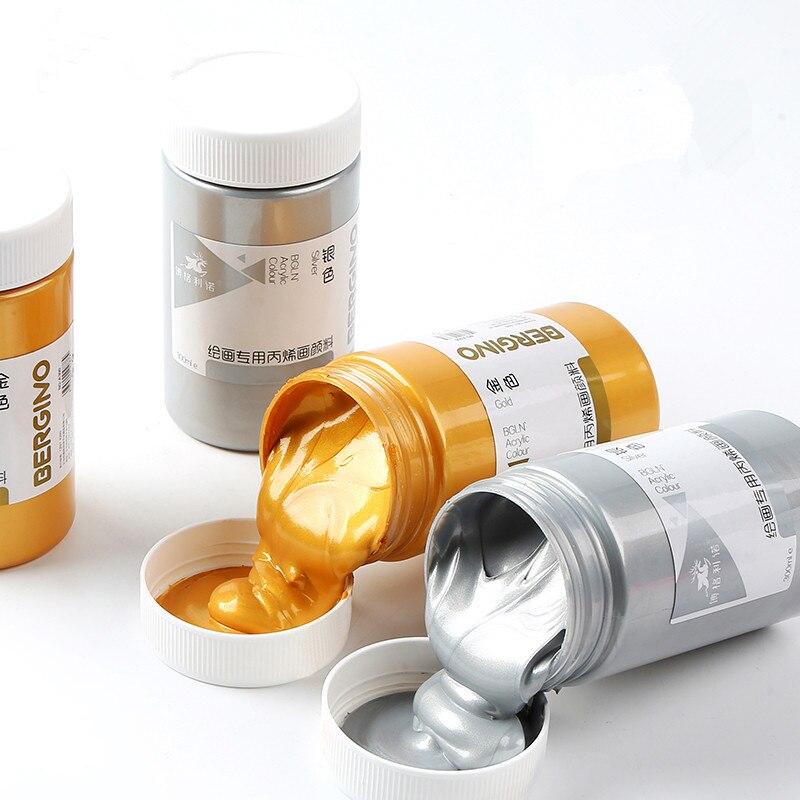 300ml/500ml Gold Acrylic Pigment, Adult Wall Paint Beginners Metallic Pigment, Waterproof Silver Acrylic Paint  Creative DIY