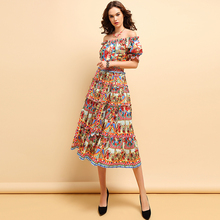 Baogarret Fashion Spring Summer Dress Womens Off shoulder Draped Character Printed Elegant Vintage Elastic Waist Dresses