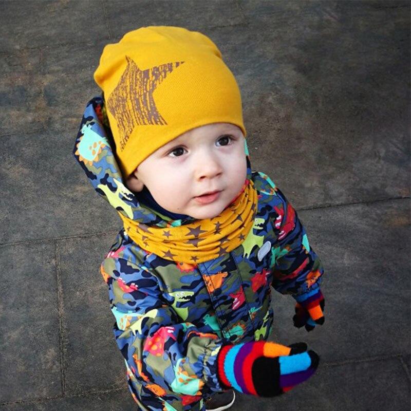 Winter Spring Baby Hat Scarf Set Cotton Baby Boy Girl Hat Cap Star Print Kids Children Hats Newborn Bonnet Beanie Boys Caps(China)