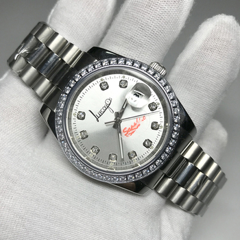 hot Sales Silver diamonds watch 36mm size AAA date Luxury Watch just Automatic Mechanical glide smooth second hand wristwatches