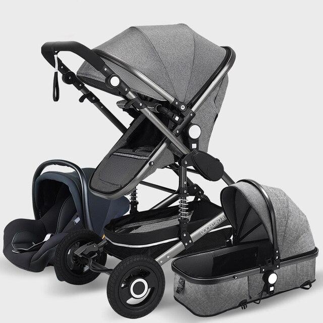 Luxo carrinho de bebê alta landview 3 em 1 carrinho de bebê portátil carrinho de bebê carrinho de bebê carrinho de bebê conforto do bebê para recém-nascido 3