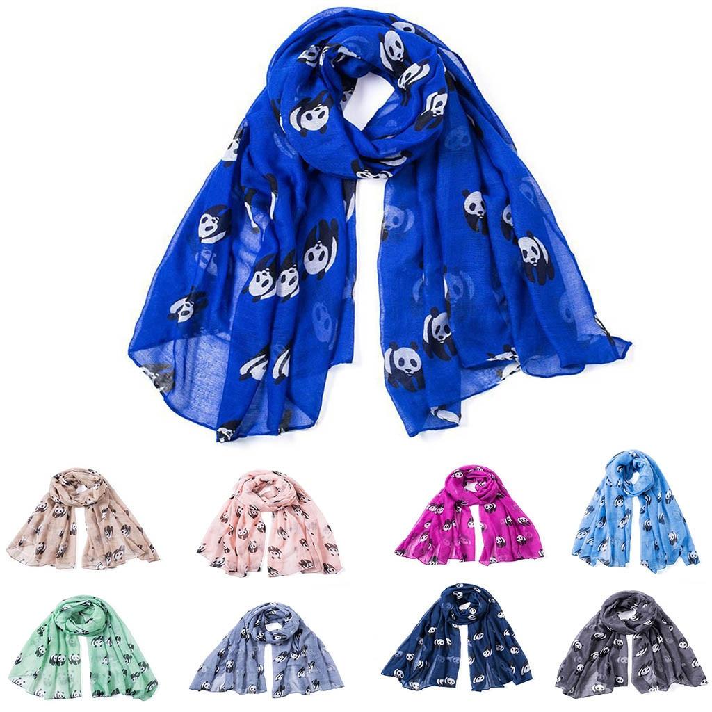 Silk Satin   Scarf   Print Thin Shawls Elegant Fashion Winter Women Lady Warm Fashion Cartoon Panda Pattern Cute   Scarf     Wrap   Shawl