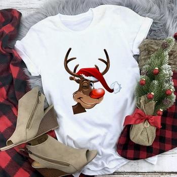White Hipster Suitable All Seasons Tshirt Tops Clothing New Santa Claus T Shirt Women Fashion Merry Christmas Harajuku T-shirt