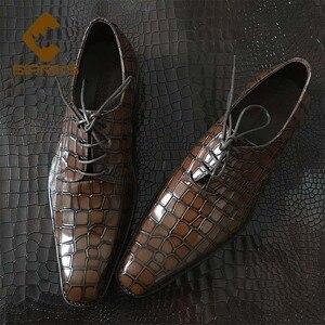Sipriks/итальянские модельные туфли из крокодиловой кожи с принтом; Мужские коричневые туфли Goodyear; Официальные оксфорды; Мужские костюмы; Social ...