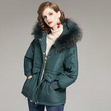 Janveny Large Real Raccoon Fur Hooded Winter Down Jacket Wom