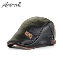Faux-Leather Hats Beret-Hat Visor-Flat-Cap Winter Autumn Men AETRENDS for Men's Wholesale