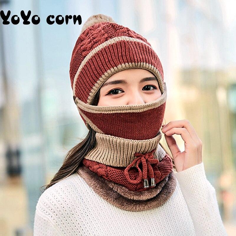 YOYOCORN  Scarf Cold Warm Winter Hat For Women Men Knitted Hat Bonnet Warm Cap Mom Dad Hat Beanies Simple Selling 3pcs Ski Cap