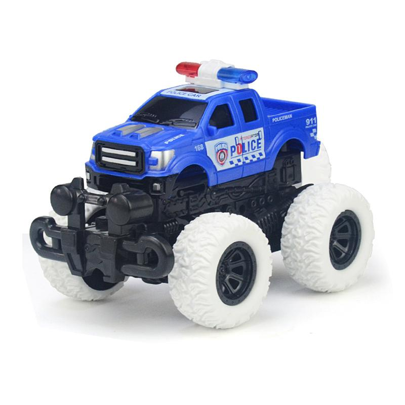 Large Wheel Off-road Inertia Car Collision Ejection Police 4WD Vehicle  Deformation Car Toys