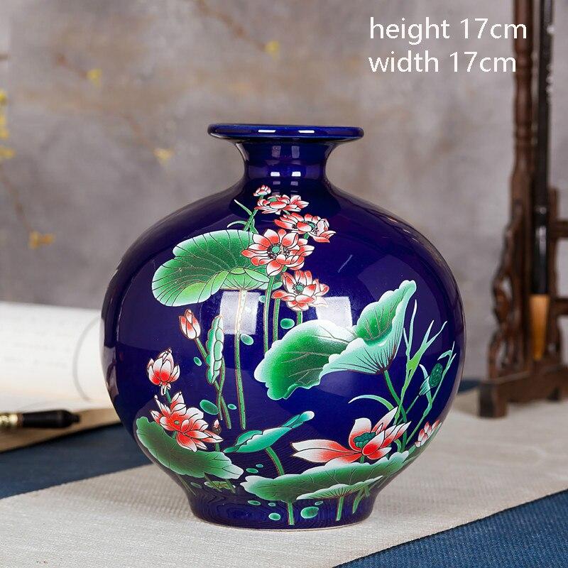 Jingdezhen Ceramics Vase High Grade Black Gold Glaze Flower Vase Ornament Living Room Household Crafts Chinese Decoration