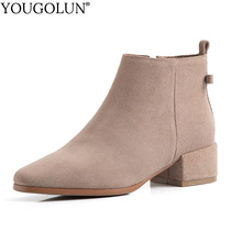 купить Nature Cow Suede Ankle Boots Women Winter Mid Thick Heels Shoes A378 Woman Square Toe Apricot Black Buckle Zipper Bowknot Boots дешево