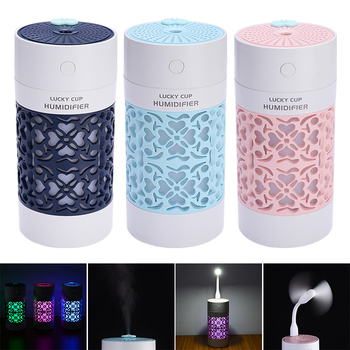 For Car Humidifiers 1pc Lucky Cup Humidifier USB Ultrasonic Aroma 3 in 1 mini Essential oil Diffuser with LED Light Fan - discount item  20% OFF Car Electronics