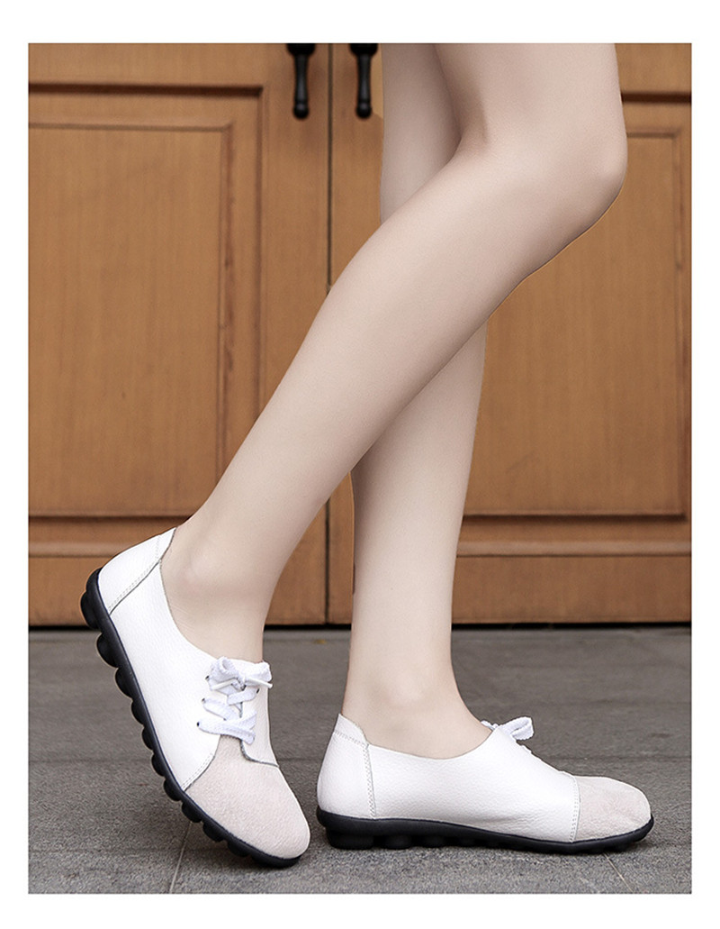 2019 New Leather Women Plus Size Sewing Flats Moccasins Loafers Ballet Flats Women Comfortable Soft Casual Shoes Ladies VT634 (32)