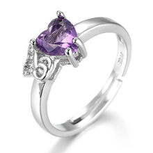 Fashion Love Heart charm Shaped Peach Purple Zircon Rings For Women Adjustable Crystal Stone Promises OPen