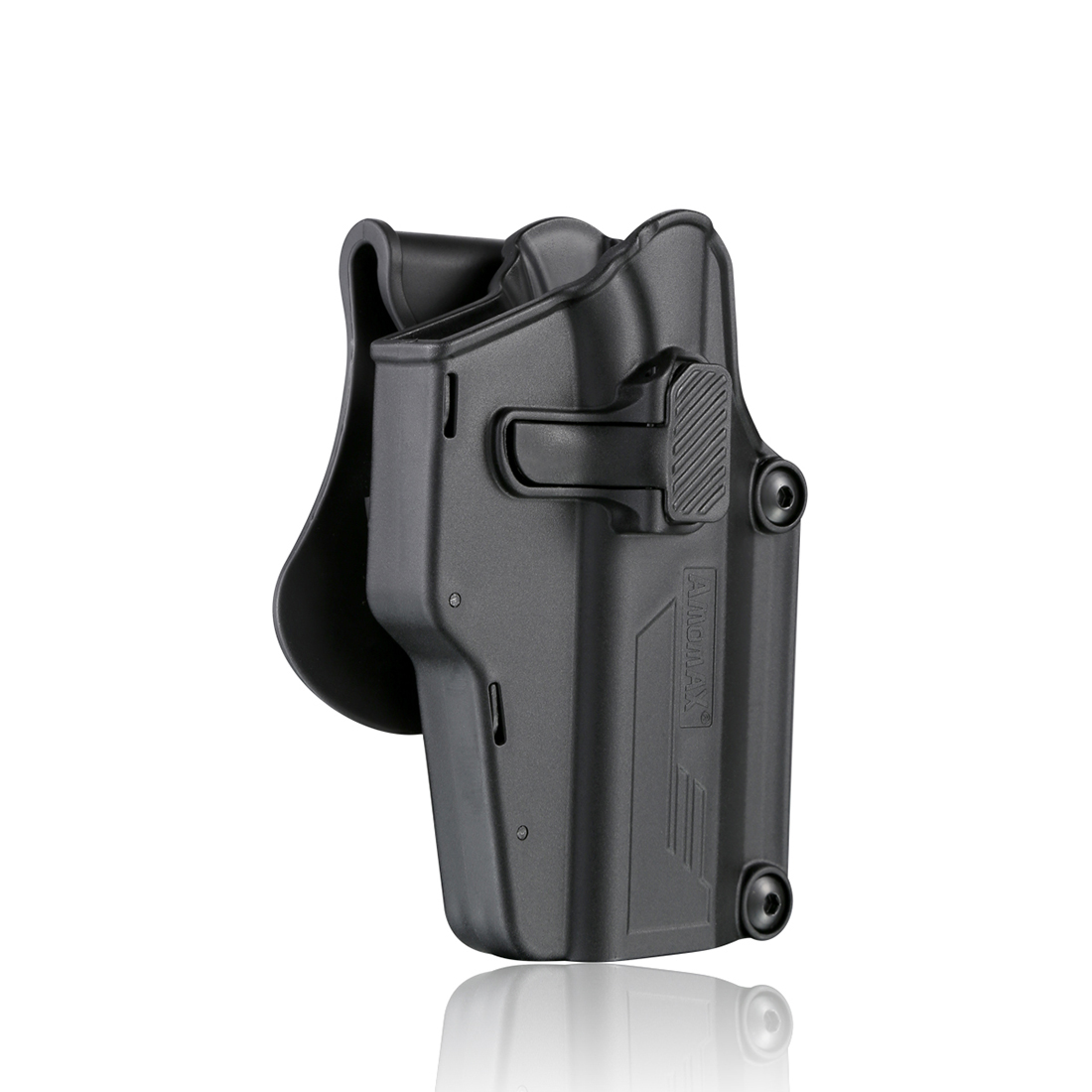 Amomax Adjustable Universal Tactical Holster - Right-Handed Black (Standard Only With Waist Plate, No Other Accessories)