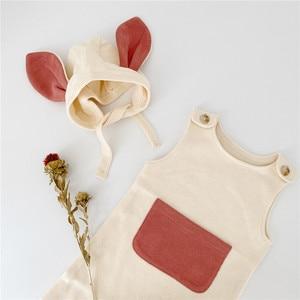 Image 4 - Комбинезон для маленьких девочек, милая одежда из одного элемента с лямками и шапками, Одежда для новорожденных