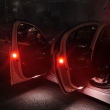 2pcs Universal Car LED Opening Door Flash Lamp Safety Warning Anti-collision Lights Red Kit Wireless Alarm Lamp Signal Light