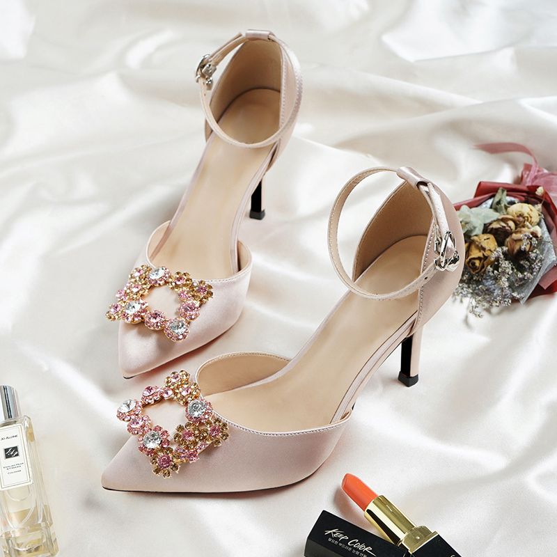 Bridal Wedding Sandals Women High Heels Champagne Color Bridesmaid Crystal Diamond Satin Material Ankle Strap Bridesmaid Shoes