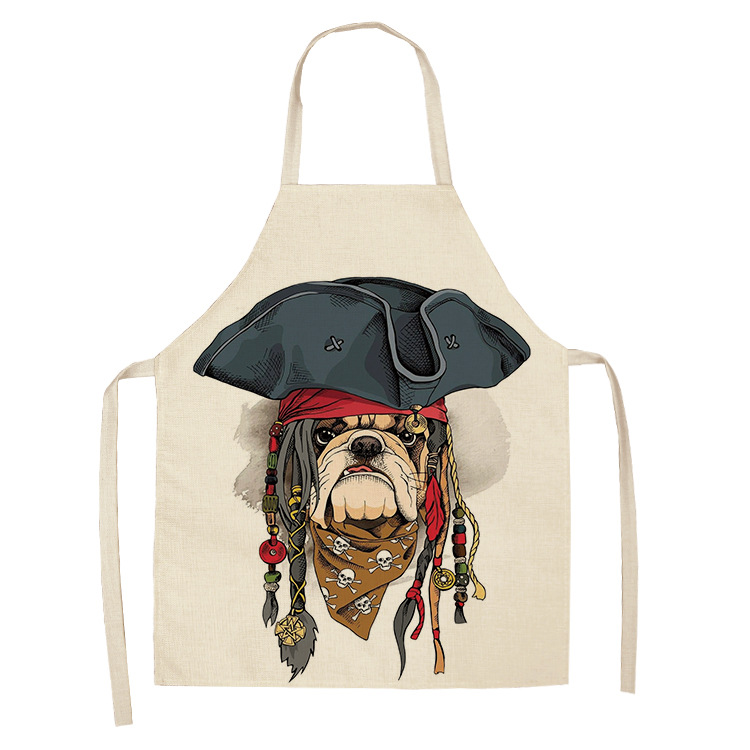 Parent-child Kitchen Apron Funny Cartoon Dog Print Sleeveless Cotton Linen Aprons for Kids Men Women Home Cleaning Tools  My Pet World Store