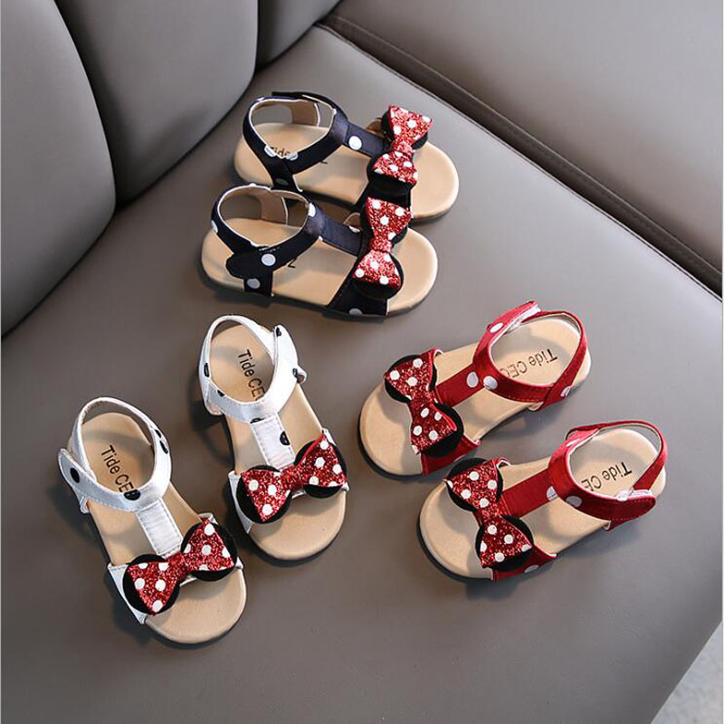 Summer Fashion Girls Sandals Anti-Slip Baby Toddler Girls Shoes Bowknot Children Shoes Princess Dance Kids Shoes Beach Sandals