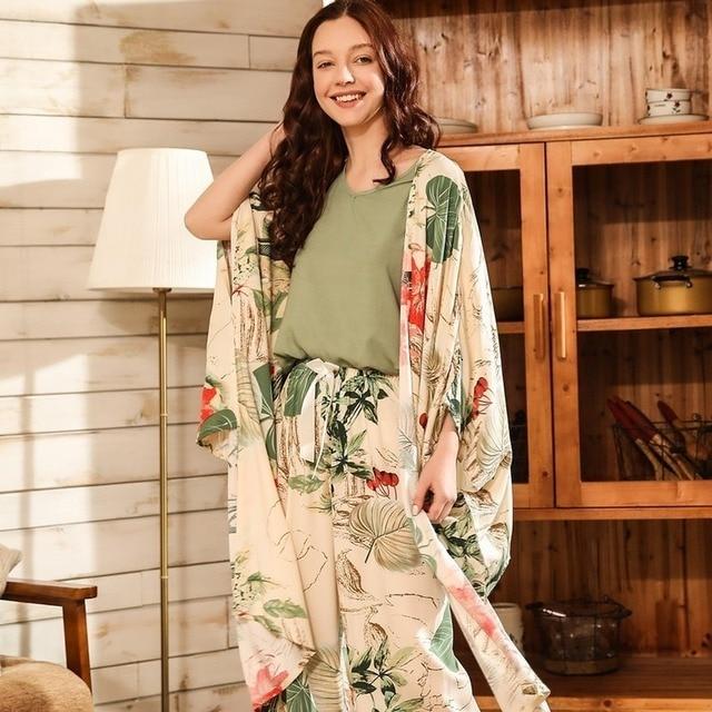 QWEEK Women Pajamas Sets 3 Piece Floral Printed Pijamas Set Top and Shorts Pyjamas Sleepwear Night Suit Set Home Clothes 2020
