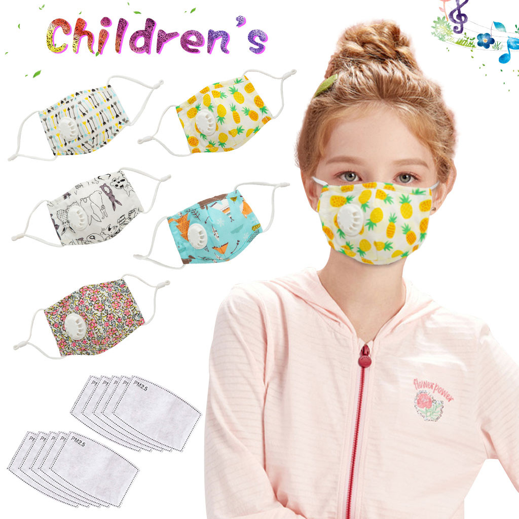 5 PCS Kids Anti Pollution PM2.5 Cotton Anime Mouth Mask Breath Valves Filter Papers Unisex Kids Cycling Anti-Dust Face Mask