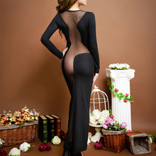 Womens Dress Evening Long Sleeve Bodycon Fashion Round Neck Sexy Mesh Party Club Dresses Summer Black See Through Long Dresses