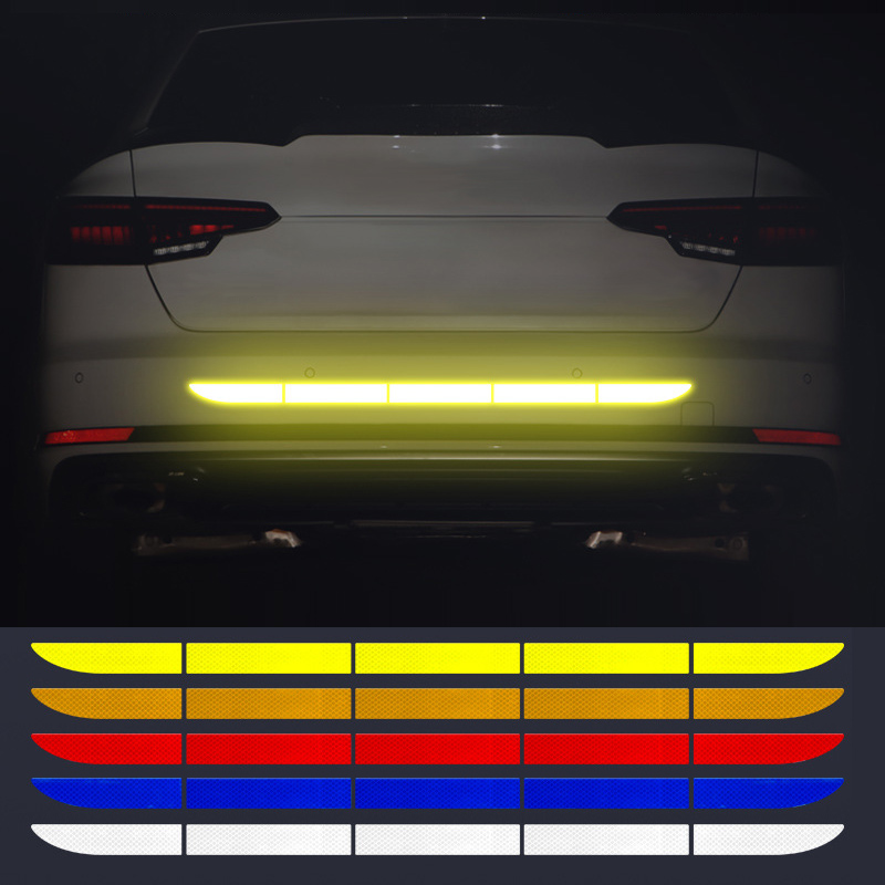 Car Reflective Tape Sticker Exterior Warning Strip Reflect Tape Traceless Protective Car Stickers Trunk Body Auto Accessories