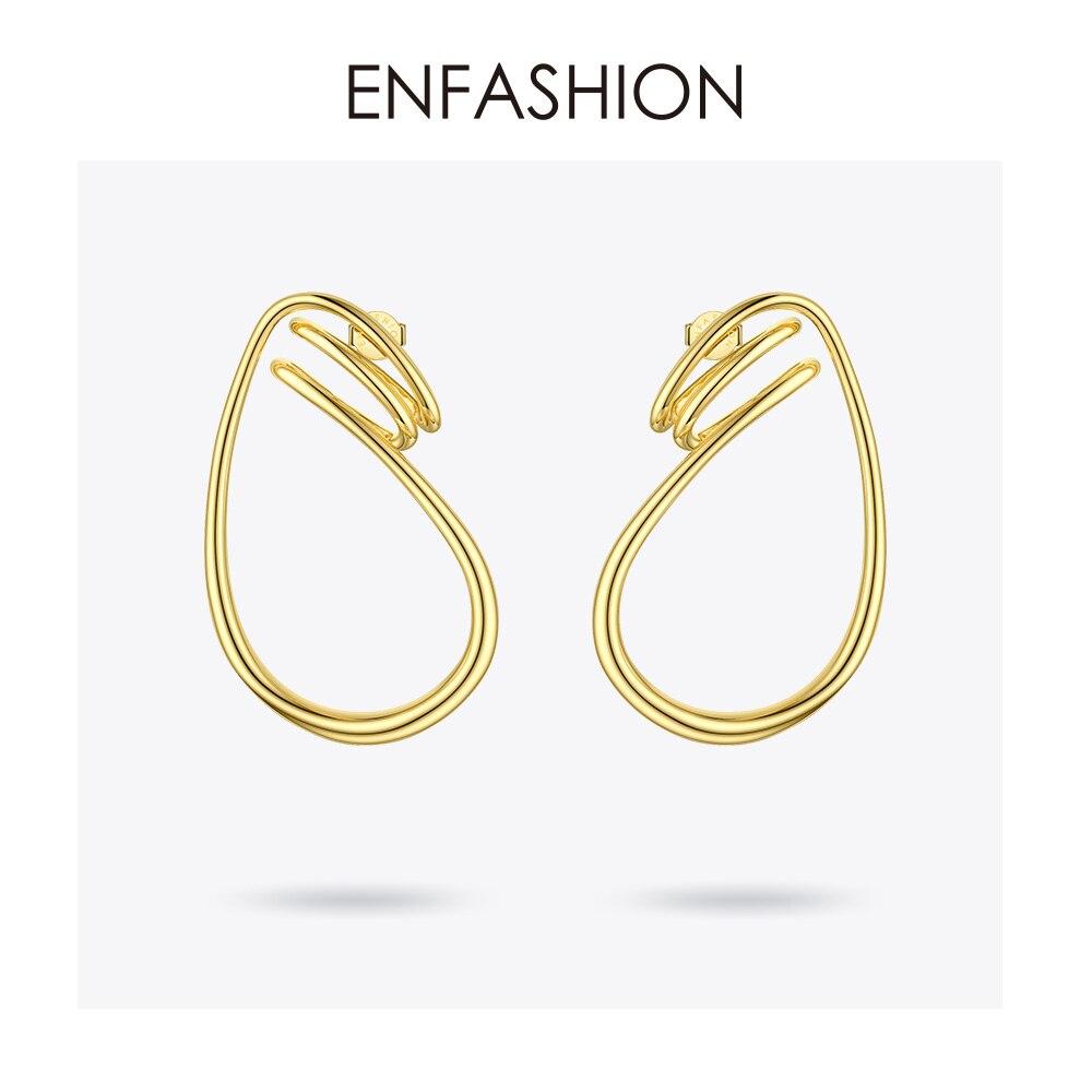Image 2 - ENFASHION Irregular Curve Line Drop Earrings For Women Gold Color Simple Dangle Earings Fashion Jewelry Dropshippping E191143Drop Earrings   -