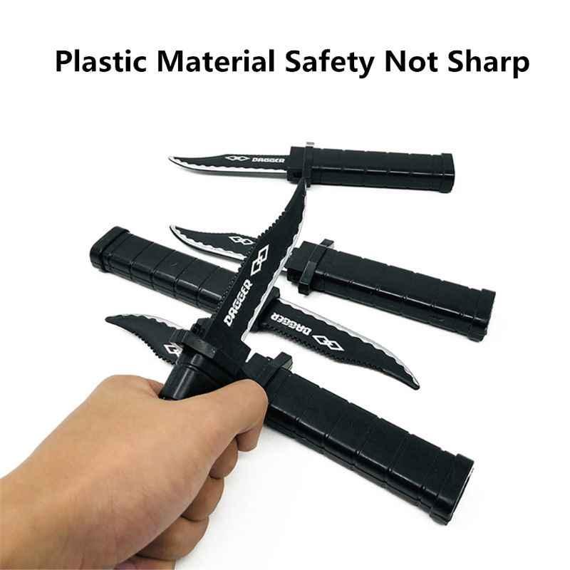 Veilig Intrekbare Decoratieve Plastic Dolk Mes Gag Joke Verrast Props Prank Props Speelgoed Pistool Accessoires Q6PD