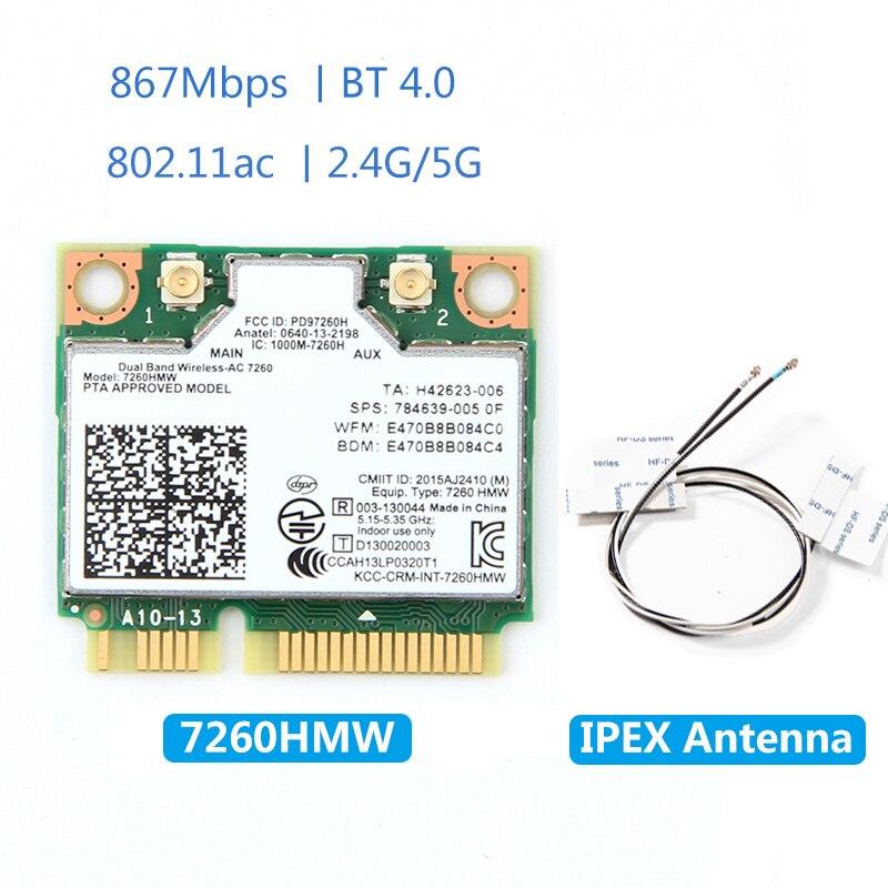 Dual Band Wireless-AC 7260HMW 7260ac PCI-E 802.11ac WiFi BT 4.0 Mini Wlan Card 2.4G/5Ghz 2x2 WiFi+Bluetooth 4.0 Adapter Antenna