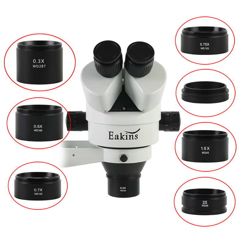 WD30 WD165 WD120 0.3X 0.5X 0.7X 0.75X 1X 1.5X 2X กล้องจุลทรรศน์ Trinocular กล้องจุลทรรศน์สเตอริโอเสริมเลนส์วัตถุประสงค์เลนส์ Barlow