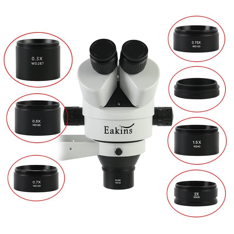 WD30 WD165 WD120 0.3X 0.5X 0.7X 0.75X 1X 1.5X 2X Microscopio Trinoculare Stereo Microscopio Ausiliario Lente Obiettivo Lente di Barlow